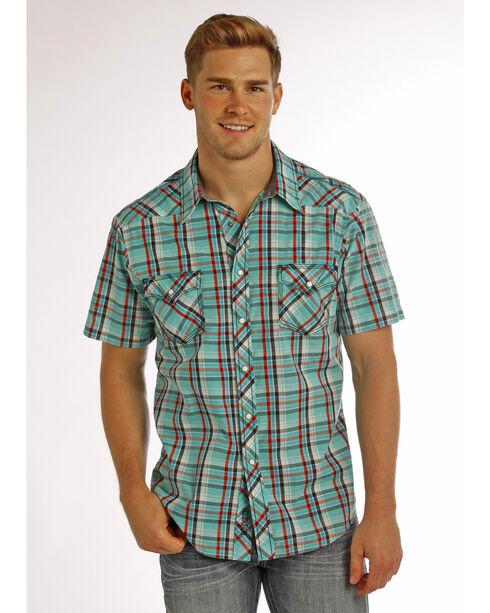 Rock & Roll Cowboy Men's Aqua Crinkle Washed Short Sleeve Plaid Shirt , Aqua, hi-res