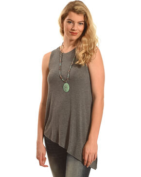 Derek Heart Women's Grey Beauty Asymmetric Tank , Grey, hi-res