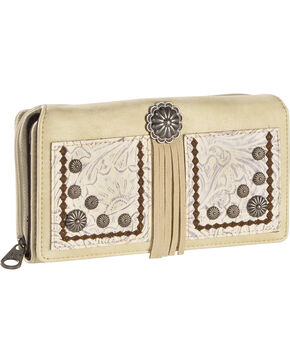Montana West Women's Beige Tooled Floral Secretary Wallet , Beige/khaki, hi-res