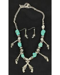 Blazin Roxx Turquoise Beaded Pistol Charm Necklace & Earrings Set, , hi-res