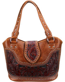 Montana West Women's Genuine Tooled Leather Concealed Carry Handbag , , hi-res