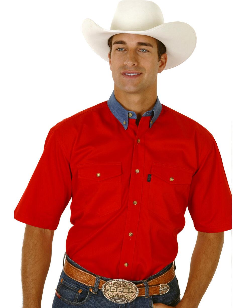 Roper Solid Twill Contrasting Denim Collar Short Sleeve Shirt, Red, hi-res