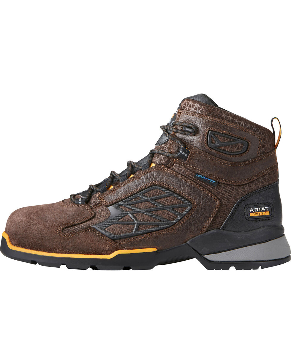"Ariat Men's Rebar Flex 6"" H2O Brown Work Boots - Soft Toe, Chocolate, hi-res"