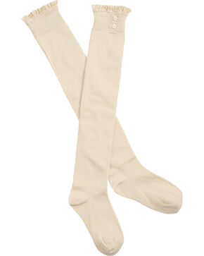 Shyanne® Women's Crochet Trim Knee High Socks, Cream, hi-res