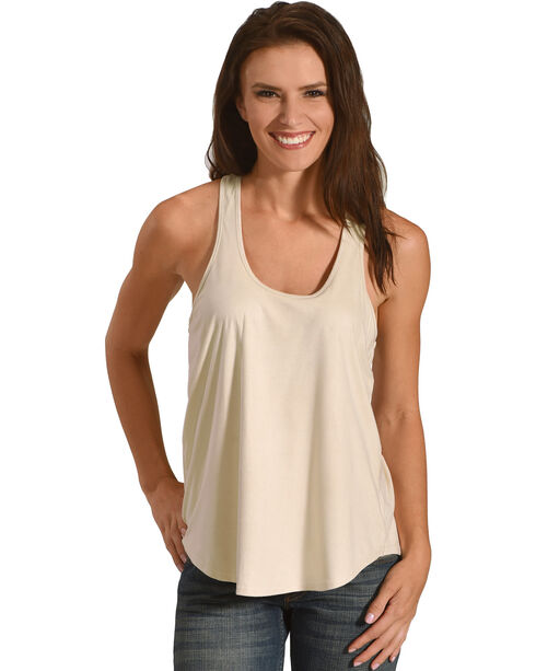 Shyanne® Women's Solid Racer Tank, Ivory, hi-res