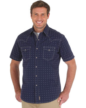 Wrangler Men's Navy Retro Spotted Western Shirt - Tall , Navy, hi-res