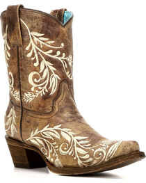 Corral Women's Side Embroidery Cowhide Short Boots - Snip Toe , , hi-res