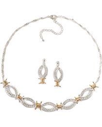 Montana Silversmiths Women's Barbwire Jewelry Set, Silver, hi-res