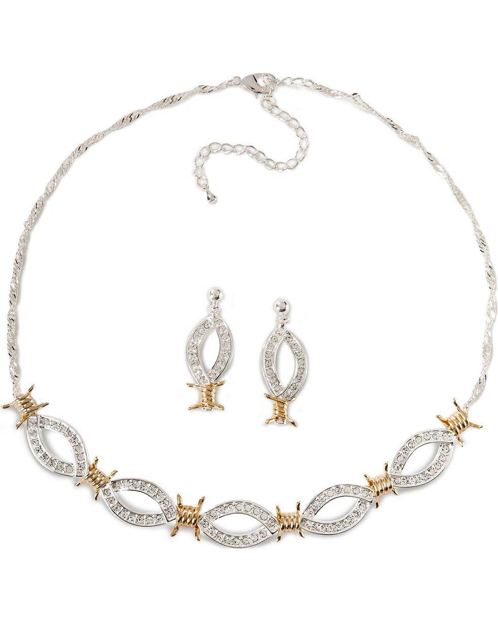 Montana Silversmiths Women's Barbwire Jewelry Set, Silver, hi-res