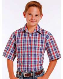 Panhandle Slim Boys' Blue Mclean Classic Short Sleeve Plaid Shirt , , hi-res