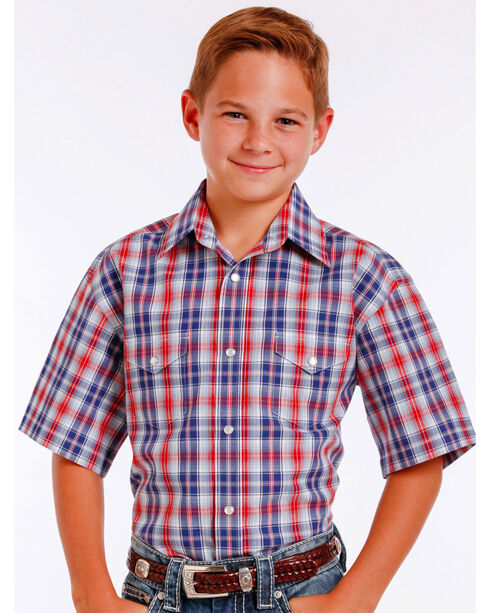 Panhandle Slim Boys' Blue Mclean Classic Short Sleeve Plaid Shirt , Blue, hi-res