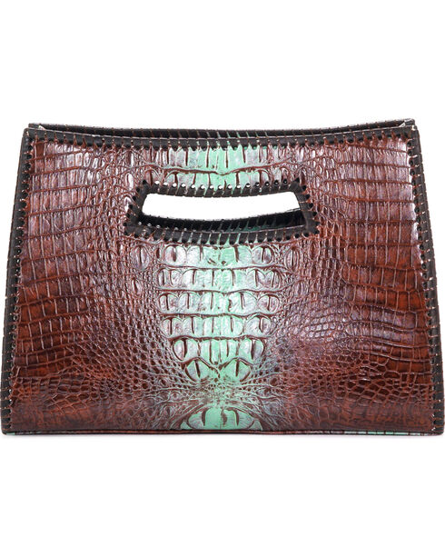 Blazin Roxx Women's Croc Print Purse , Tan, hi-res