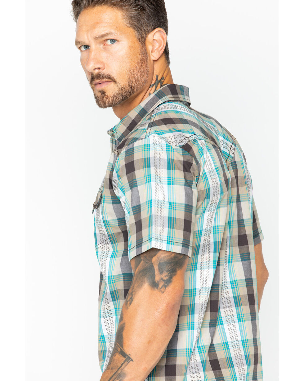 Cody James Men's San Felipe Brown Plaid Short Sleeve Western Shirt, Brown, hi-res