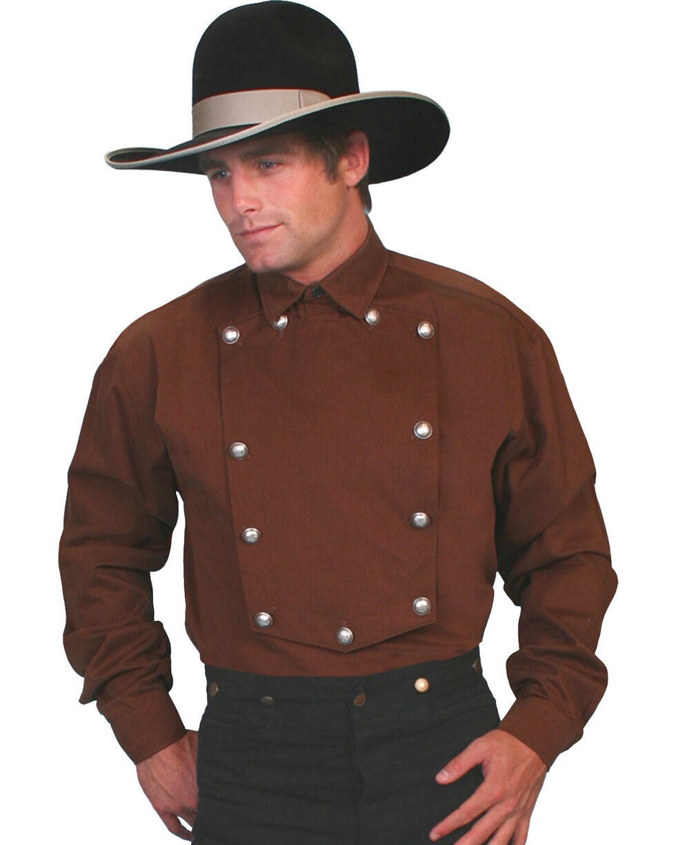 WahMaker Old West by Scully Brushed Twill Bib Shirt - Big and Tall, Brown, hi-res