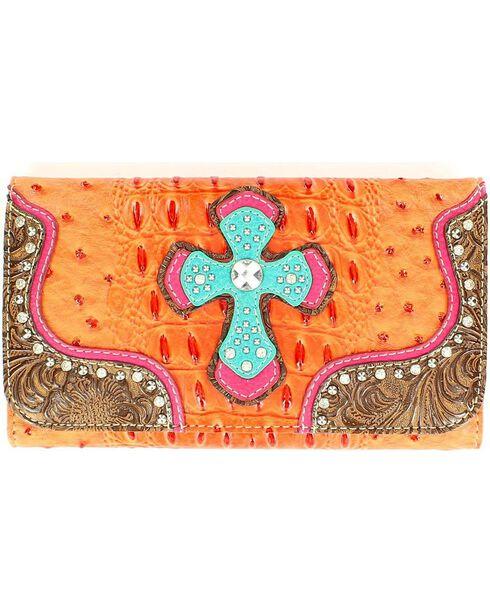 M&F Women's Faux Ostrich Print Cross Wallet, Orange, hi-res