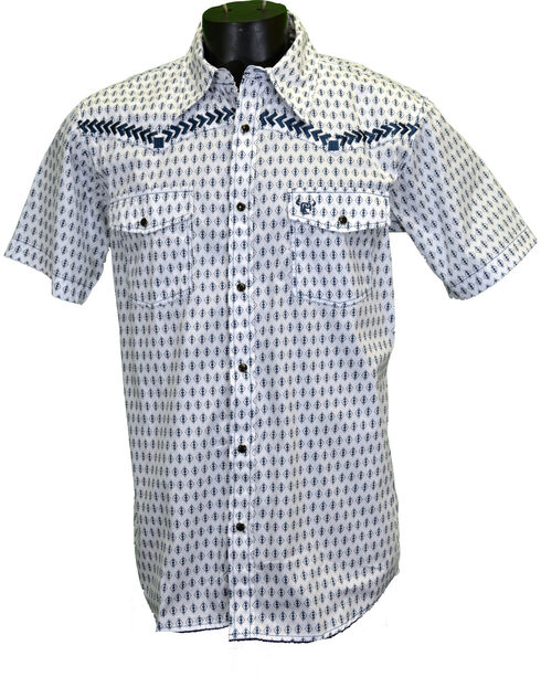 Cowboy Hardware Men's Diamond Short Sleeve Western Snap Shirt, White, hi-res