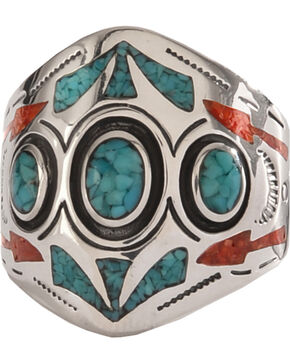 Silver Legends 3 Circle Southwestern Ring , Turquoise, hi-res
