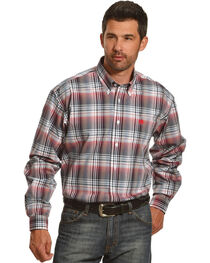 Cinch Men's White Plaid One Pocket Long Sleeve Shirt, , hi-res
