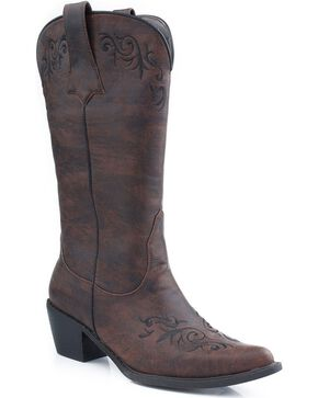 Roper Scroll Embroidered Cowgirl Boots - Pointed Toe, Brown, hi-res