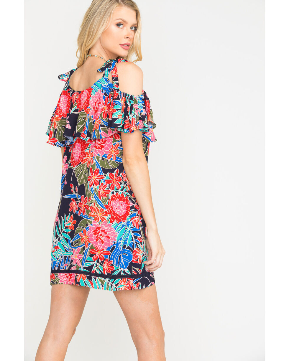 Miss Me Women's Open Shoulder Floral Print Dress, Navy, hi-res