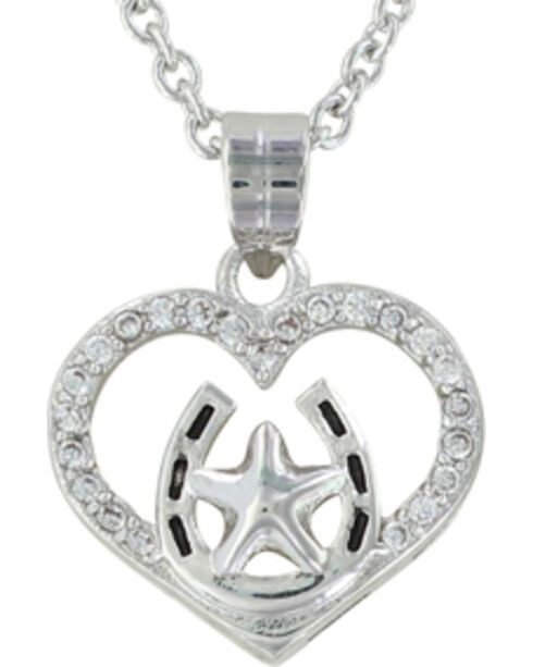 Montana Silversmiths Women's Star Of My Heart Horseshoe Jewelry Set , Silver, hi-res