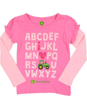 John Deere Girl's Toddler Alphabet Graphic Long Sleeve Shirt, Pink, hi-res