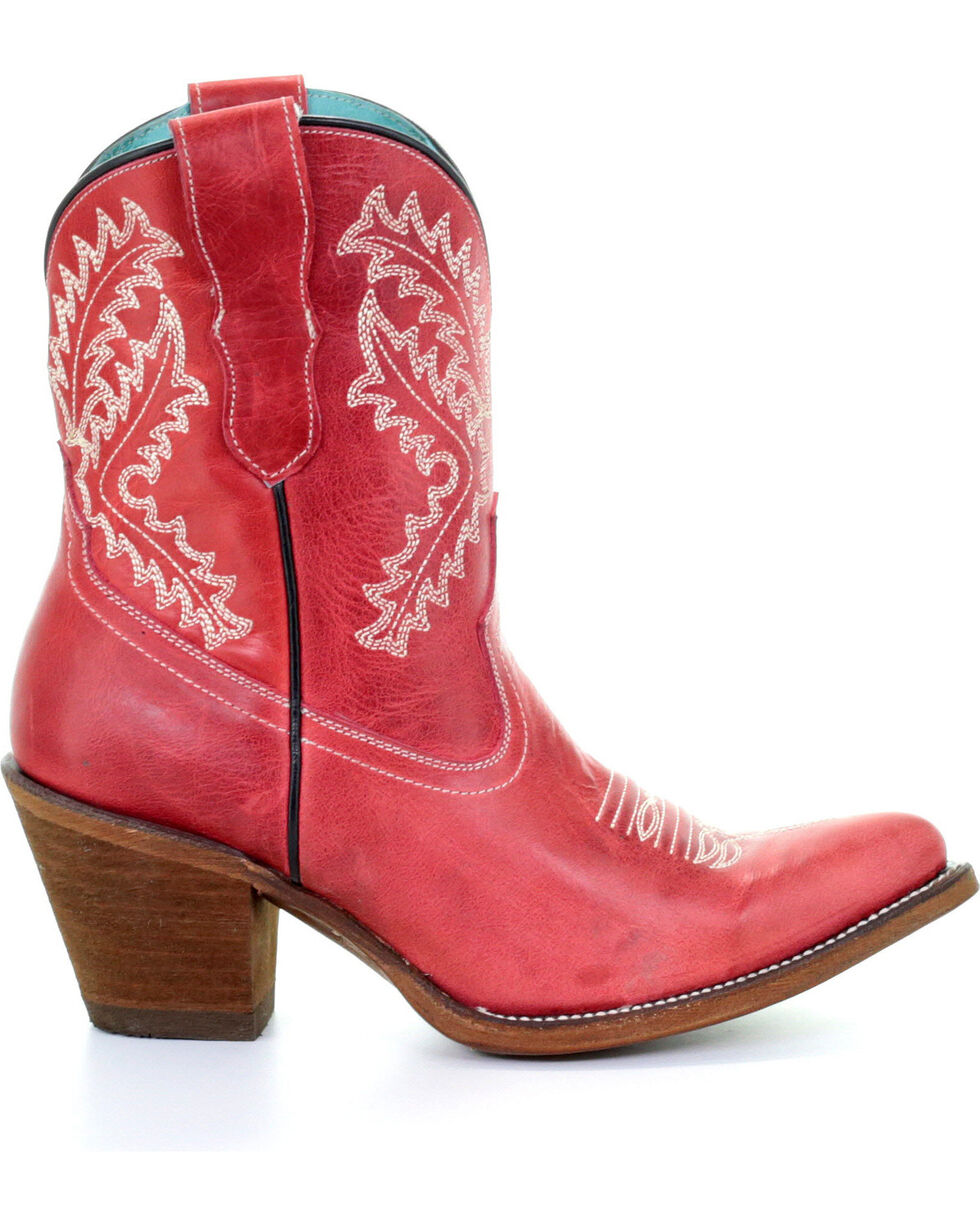 Corral Women's Rojo Embroidered Ankle Boots - Snip Toe, Red, hi-res