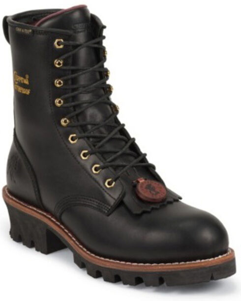 """Chippewa Men's Sportility 8"""" Insulated Logger Waterproof Work Boots, Black, hi-res"""