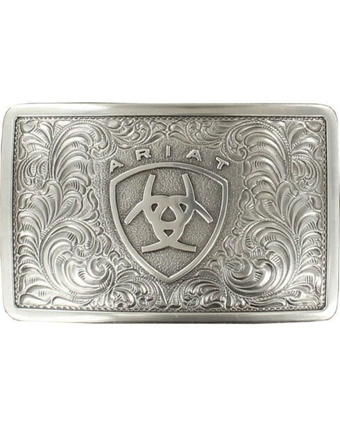 Ariat Rect Filigree Buckle, Silver, hi-res
