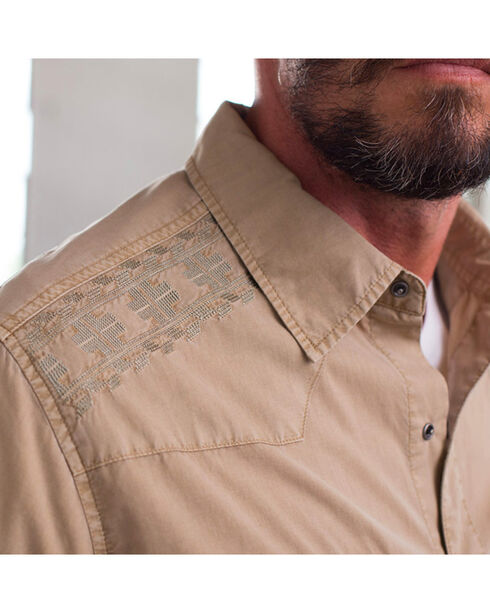 Ryan Michael Men's Embroidered Yoke Tencel Shirt , Beige/khaki, hi-res