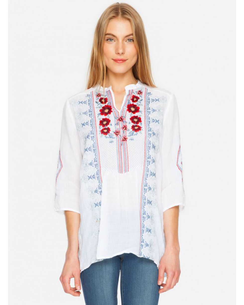 3J Workshop Galina Peasant Tunic, White, hi-res