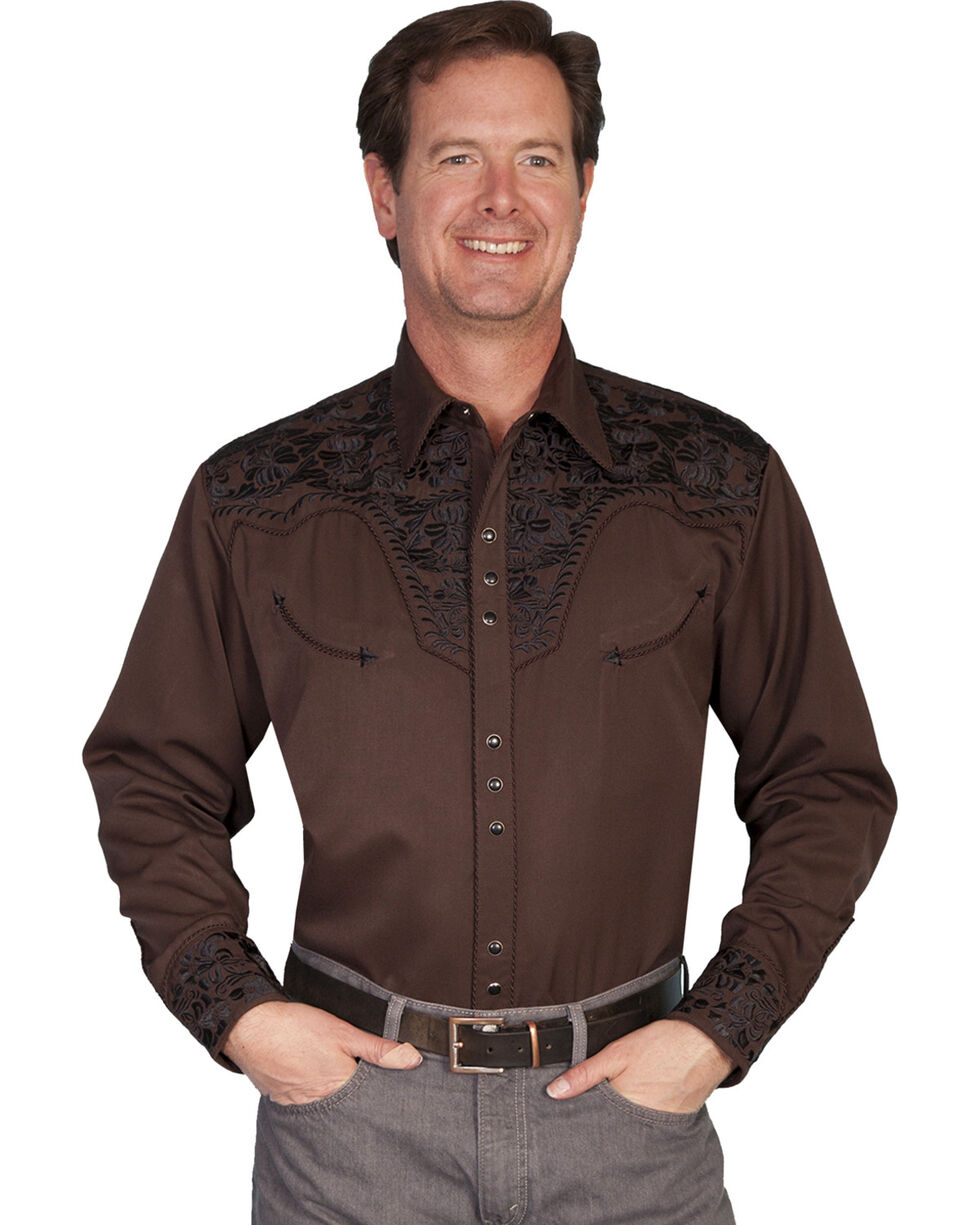 Scully Men's Black Embroidered Gunfighter Shirt - Big, Chocolate, hi-res