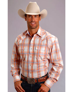 Stetson Men's Orange Plume Plaid Long Sleeve Snap Shirt, Orange, hi-res