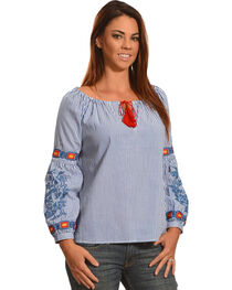 Young Essence Women's Pinstripe Embroidred Top with Tassels, Blue, hi-res