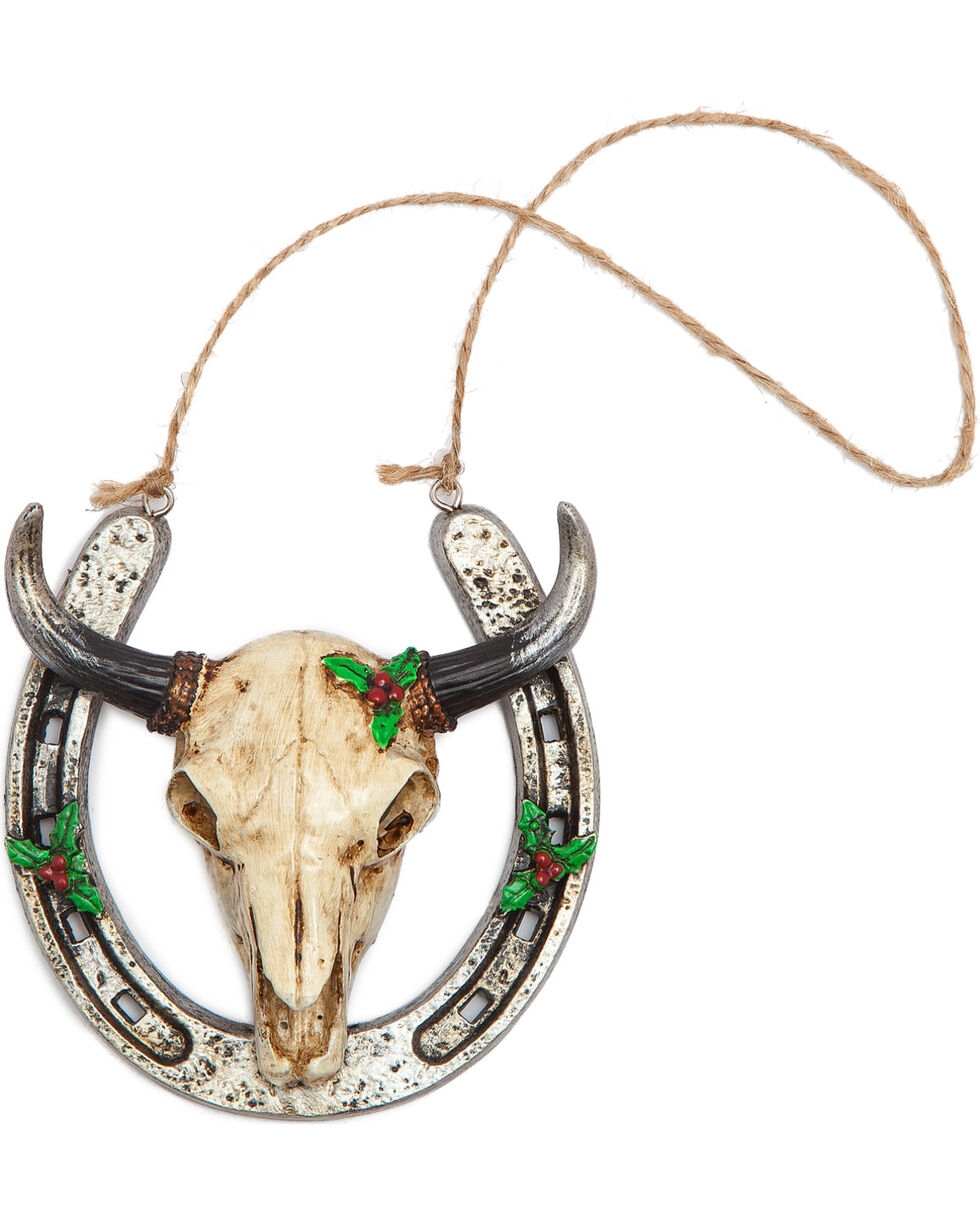 BB Ranch Cow Skull and Horseshoe Ornament, No Color, hi-res