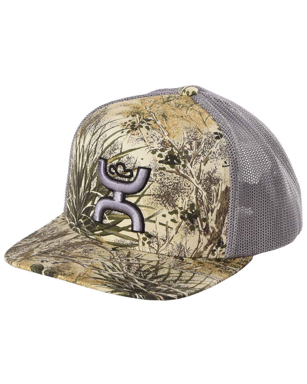 HOOey Men's Grey Camo Gameguard Trucker Cap , Grey, hi-res