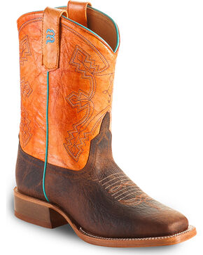 Anderson Bean Boys Tangerine Marfalous Western Boots - Square Toe, Brown, hi-res