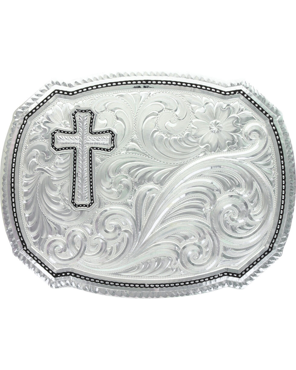 Montana Silversmiths Right Cut of the Roper Buckle, Silver, hi-res
