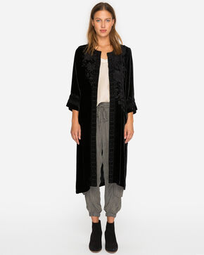 Johnny Was Women's Black Magdalene Velvet Midi Coat , Black, hi-res