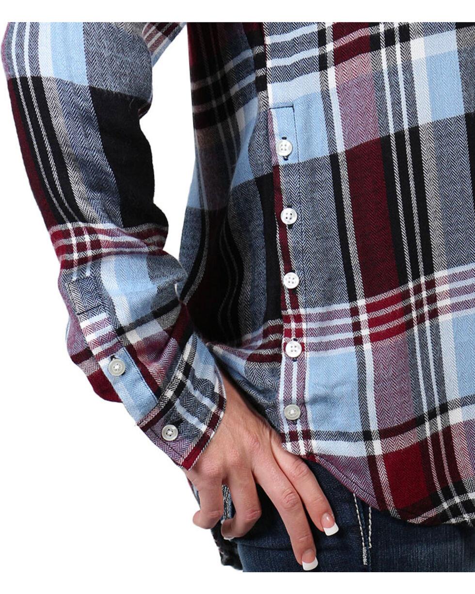 Shyanne® Women's Plaid Side Button Down Long Sleeve Shirt, , hi-res