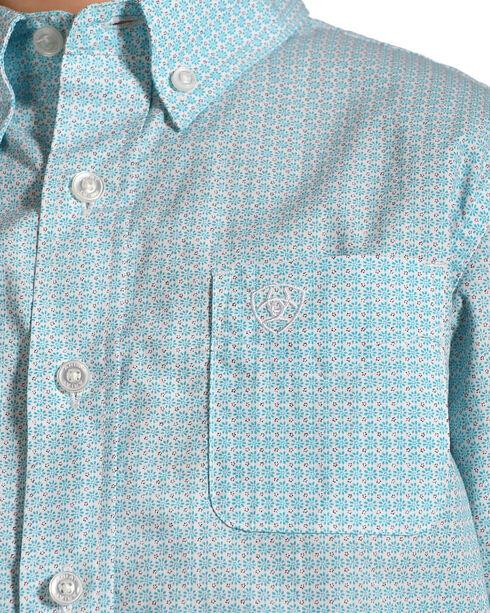 Ariat Boys' Casual Series Newman Print Short Sleeve Button Down Shirt , Turquoise, hi-res