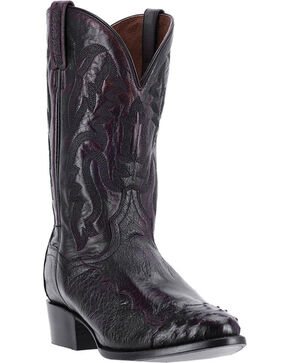 "Dan Post Men's 13"" Pugh Ostrich Exotic Boots, Black, hi-res"