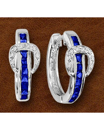 Kelly Herd Sterling Silver Blue Rhinestone Buckle Earrings, , hi-res