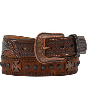 Vintage Ostrich Studded Cross & Concho Belt, Brown, hi-res