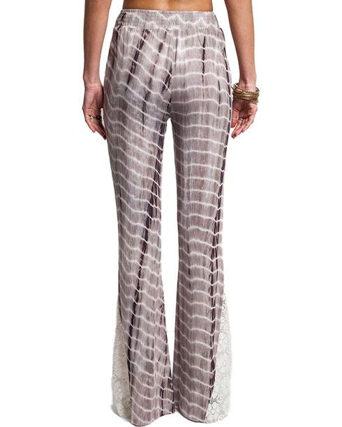 Umgee Women's Tie-Dye Bell Bottom Pants, Chocolate, hi-res