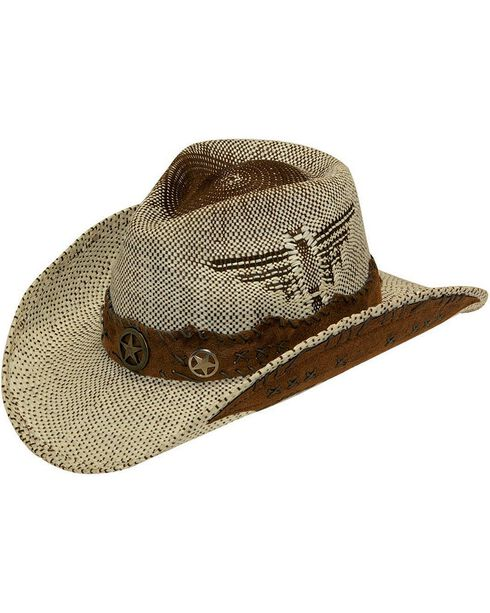 Twister Fashion Raffia Lonestar Band Straw Cowboy Hat, Natural, hi-res