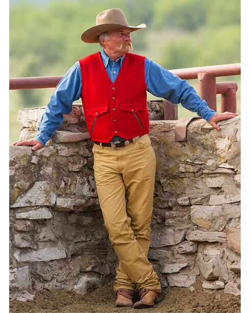 Schaefer Outfitter Men's Red Stockman Melton Wool Vest - 2XLT, Red, hi-res