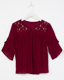 Miss Me Girls Embroidered Short Sleeve Top, , hi-res