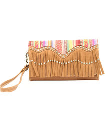 Blazin Roxx Blanked Faux Leather Fringe Clutch, , hi-res