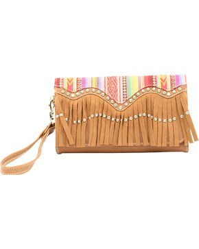 Blazin Roxx Blanked Faux Leather Fringe Clutch, Multi, hi-res